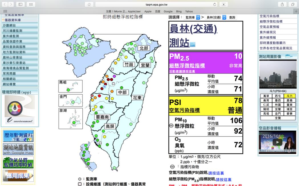 彰化縣昨品質差,員林測站再紫爆。圖/截至環保署空氣品質監測站