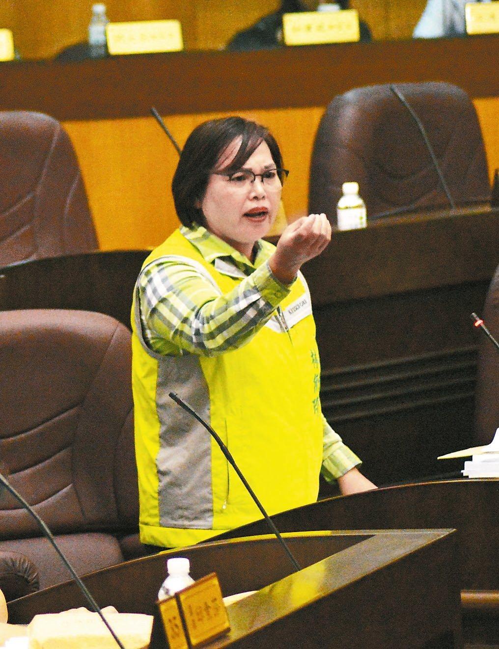 議員林俐玲認為,代理教師流動率過高,不利學生學習。 記者施鴻基╱攝影