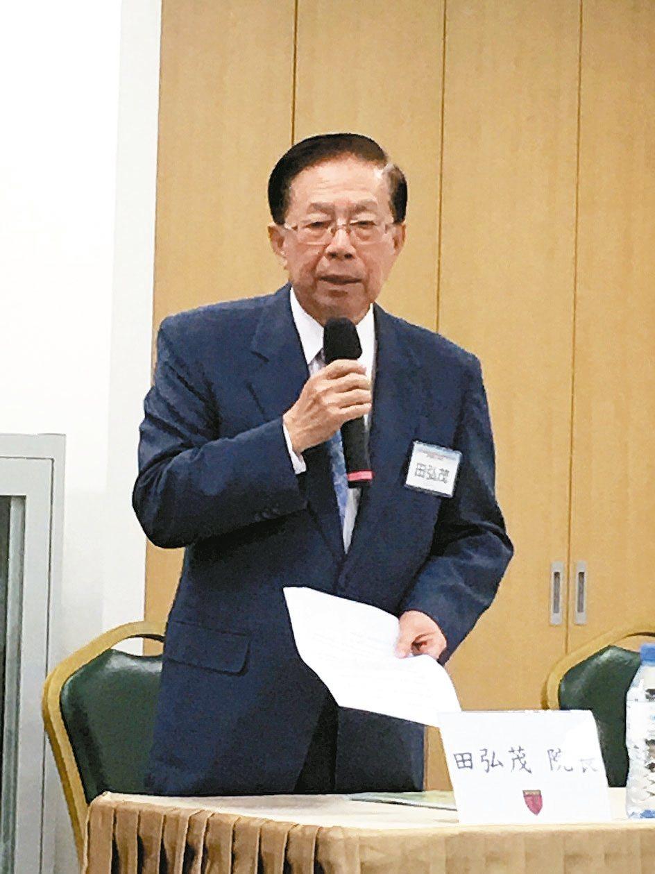 海基會董事長、國策研究院院長田弘茂。 記者林庭瑤/攝影