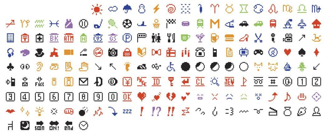 日本電信電話公司(NTT)在1999年設計的一組表情符號的原始數位檔,被紐約現代...