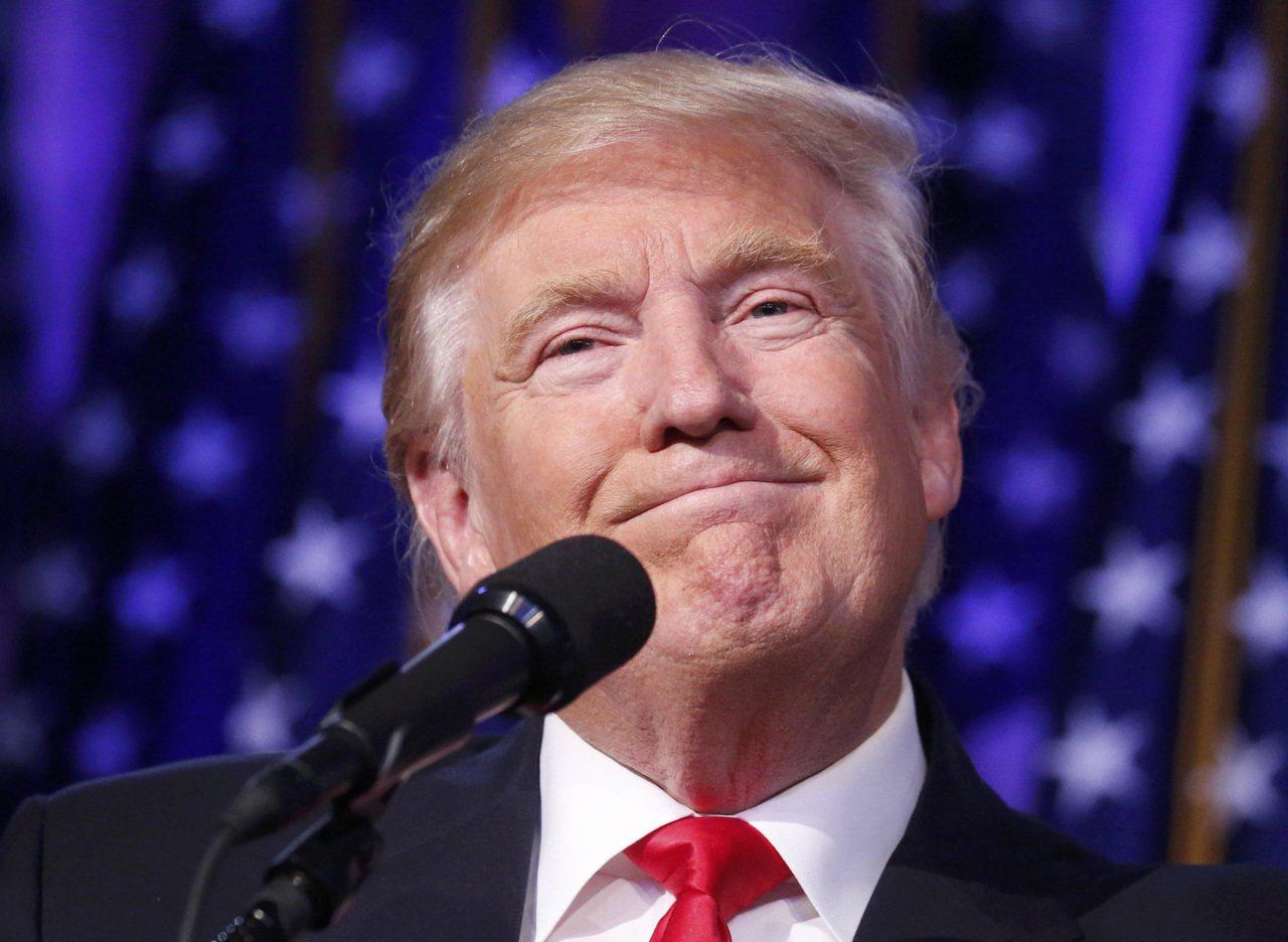 美國總統當選人川普發表勝選感言。圖/路透