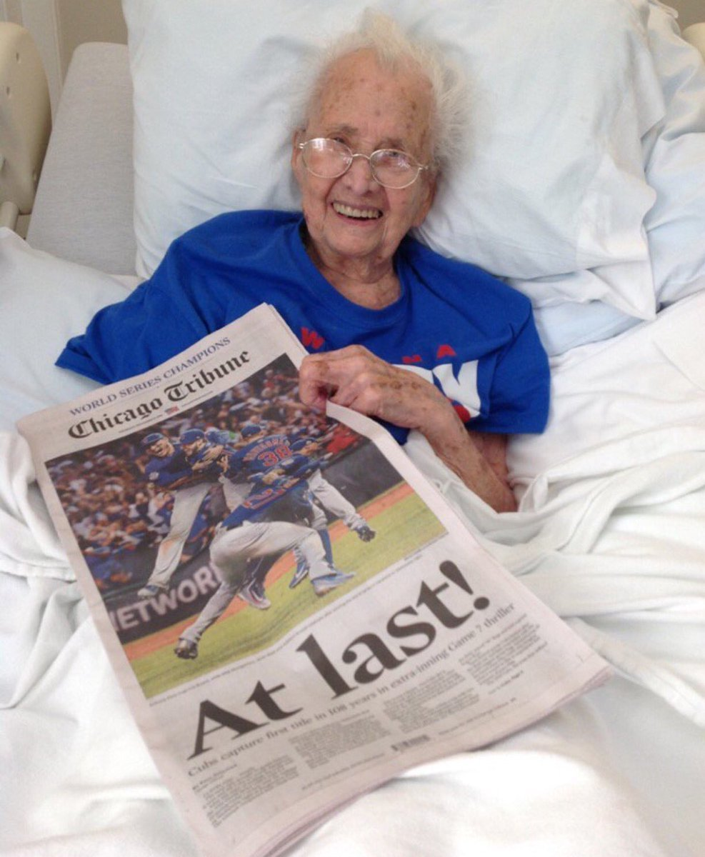 小熊108歲球迷波兒(Mabel Ball)在見證小熊奪冠後,說了這句玩笑話,沒...