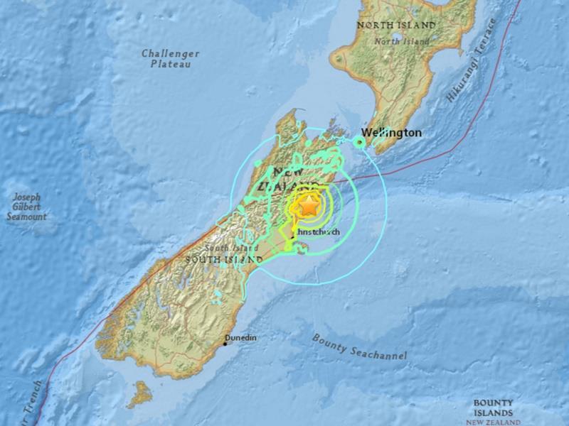 根據美國地質調查所,紐西蘭基督城東北東方91公里處13日發生規模7.4的大地震。...