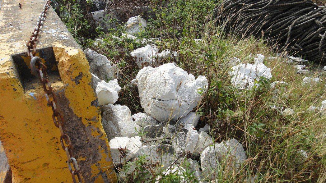 保麗龍碎片被吹進附近草叢內。記者蔣繼平/攝影