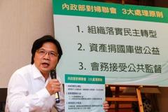 內政部:婦聯會將轉型成立公益基金 捐8成資產