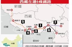 西藏建6戰略鐵路 威脅印度