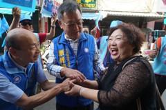 韓國瑜、賴峰偉到北辰市場拜票 「韓流」掀藍色旋風