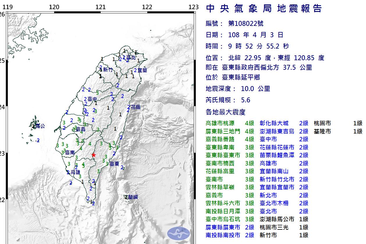 好搖!9時52分全台有感地震 震央台東規模5.6、高屏嘉4級