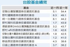 指數屢創新高 台股基金今年來平均漲3成