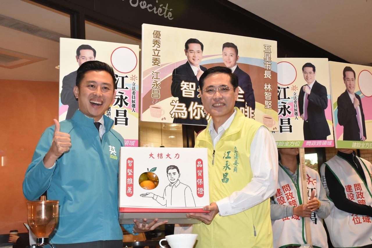 林智堅化身咖啡師 用「咖啡學」向民眾力薦江永昌