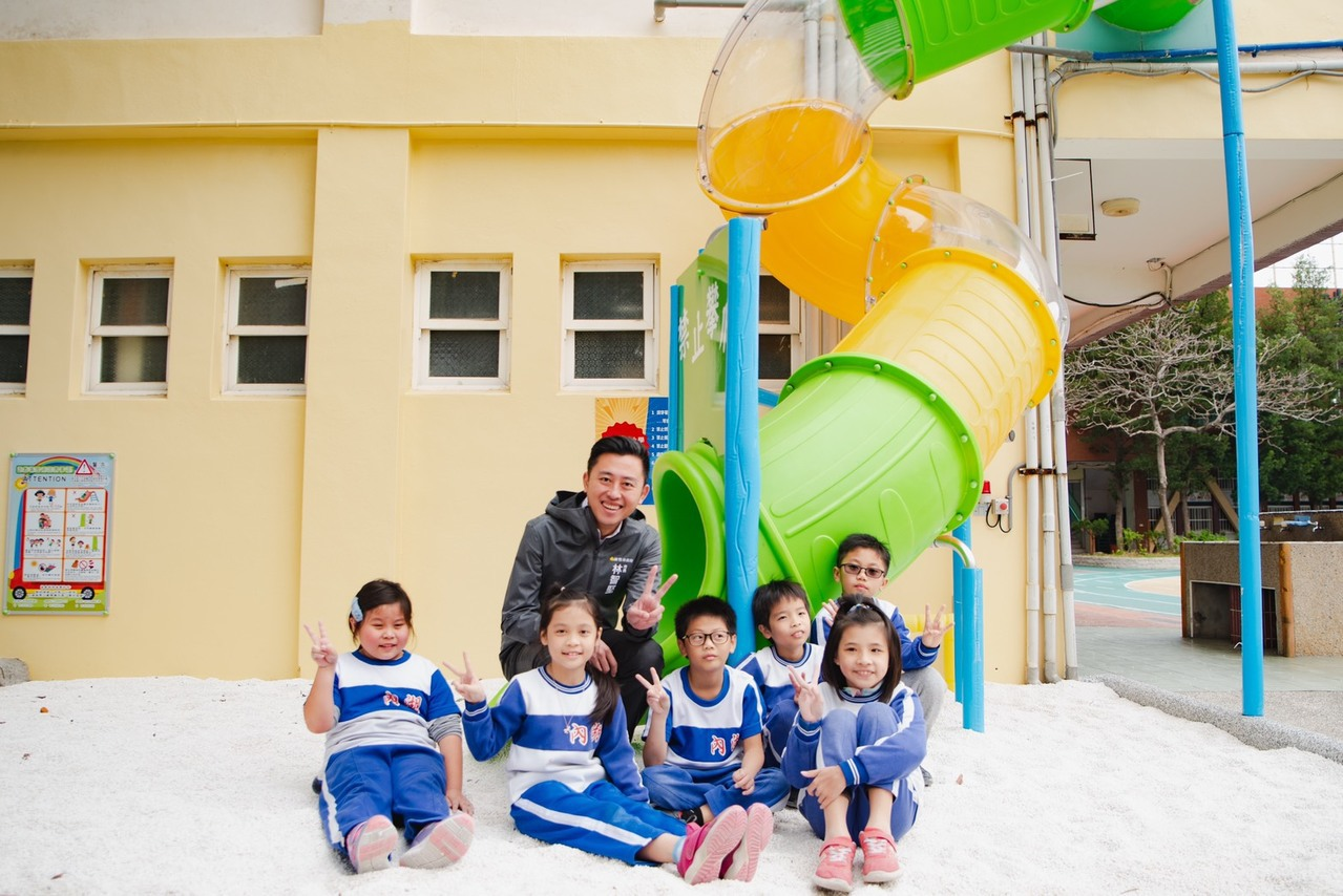八校遊具汰換 竹市內湖國小打造兩層樓高空溜滑梯