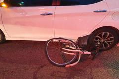 金門縣府路口車禍 自行車被撞到嚴重變形