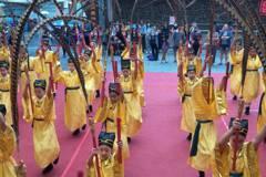 影/基隆祭孔 安樂國小36名學生持翟、籥表演六佾舞