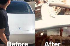 影/特斯拉交車完變敞篷?全新Model Y剛上路 車頂就飛了!