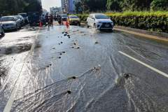 台南自來水大管爆裂 3千多戶停水預計到下午3點以後