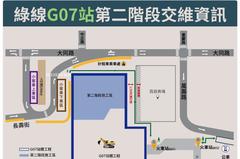 通勤族注意!捷運綠線G07站工區擴大 站前圓環設圍籬