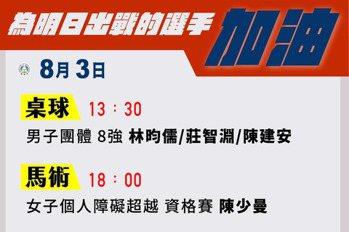 圖表/中華隊3日焦點 桌球男團戰德國林昀儒再碰奧恰洛夫