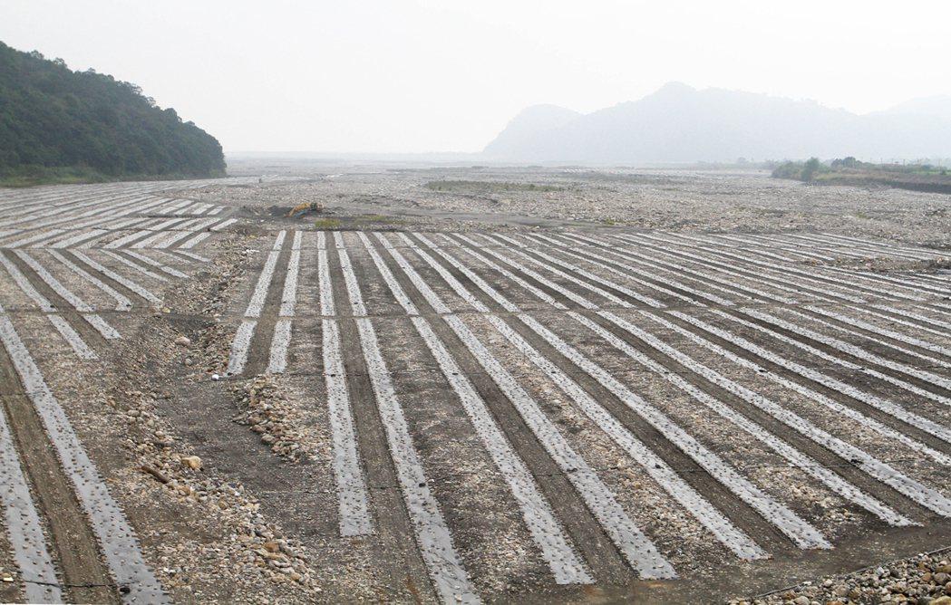 台7線、台7甲線蘭陽溪沿岸河床滿是被挖土機整理過的痕跡,河床砂地被廣泛用來種植西...