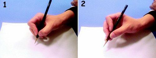 左:1.動態式三點抓握。右:2.動態式四點抓握。