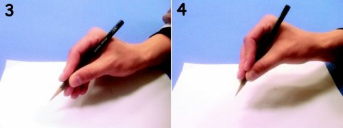 左:3.靜態式三點抓握。右:4.靜態式四抓握。