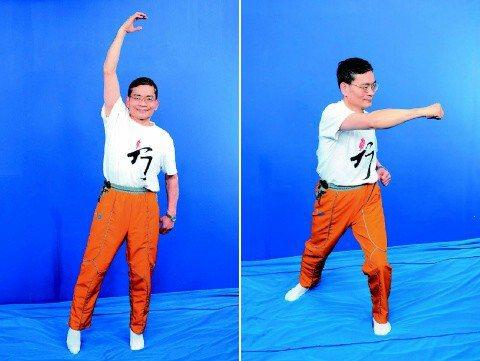 左:圖5--雙腳跳躍。右:圖6--左右打拳。