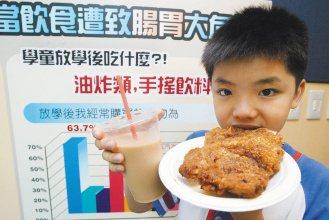 「中小學童放學飲食安全調查報告」發現,五成三小朋友在放學途中買雞排與珍奶,成為學...
