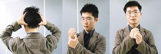 中醫師藍士哲示範按壓風池穴(左)、後谿穴(中)及中渚穴(右),可緩解肩頸僵硬痠痛...