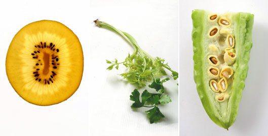 奇異果(左起)、芹菜、山苦瓜皆是不錯的「護心」食材。 記者陳立凱/攝影