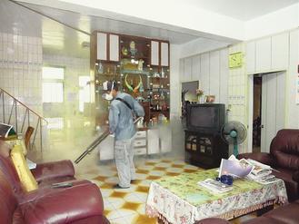 北縣衛生局連續2天五股老翁住處附近噴藥消毒、清除病媒蚊孳生源,連室內都不放過。 ...