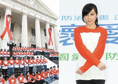 藝人陳怡蓉(右圖)與AIESEC宣導動畫版愛滋防治觀念,在國立台灣博物館繫上紅絲...