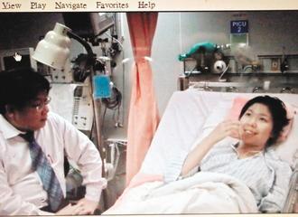衛姓僑生(右)在手術後,告訴主治醫師陳豐霖,「原來呼吸到一口清新的空氣是如此容易...