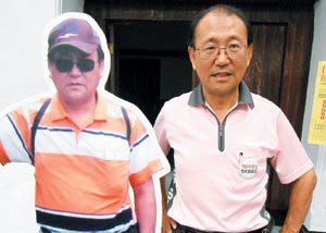台大註冊組主任洪泰雄(右,左為他減重前的人形立牌)減重成功,跟「中廣」身材說拜拜...