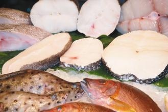 中排右者為俗稱「圓鱈」的智利大海鱸;中排左為俗稱「扁鱈」的格陵蘭大比目魚。 圖片...