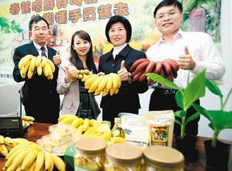 台灣香蕉研究所所長趙治平(左起)和臺安醫院營養師劉怡里,極力推薦大家多吃香蕉,美...