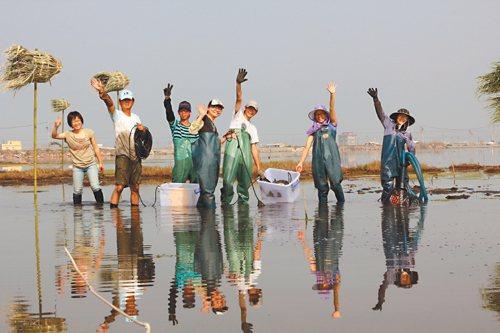 假日打工的志工學習當農夫,不僅養殖、種菜,還和國外藝術家在成龍溼地快樂創作。 (...