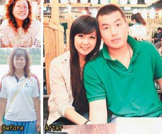 桃猿隊捕手林泓育(圖右)的妻子黃仲君,大學時因為愛吃,曾胖到近90公斤。黃仲...