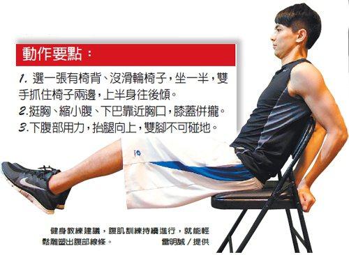健身教練建議,腹肌訓練持續進行,就能輕鬆雕塑出腹部線條。 圖/雷明誠提供