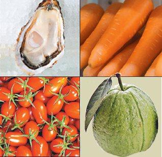 芭樂、聖女番茄、生蠔、胡蘿蔔等富含預防黃斑部病變的成分。 圖/本報資料照片