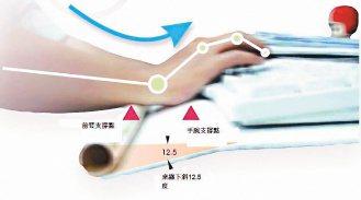 亞東技術學院講師高繼徽發明的手腕支撐桌緣,可減輕打電腦時的頸肩痠痛。(記者饒磐安...