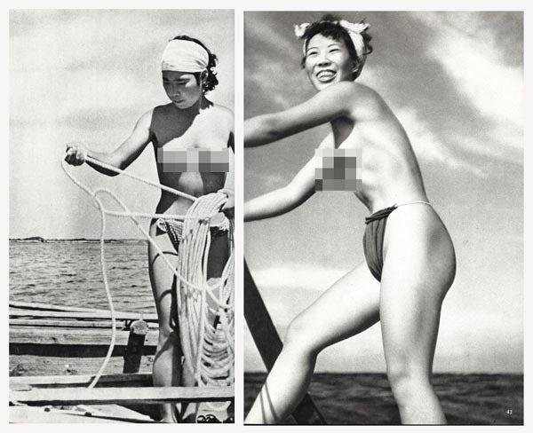 早期的海女是裸身下海採集。 圖片來源/互動百科