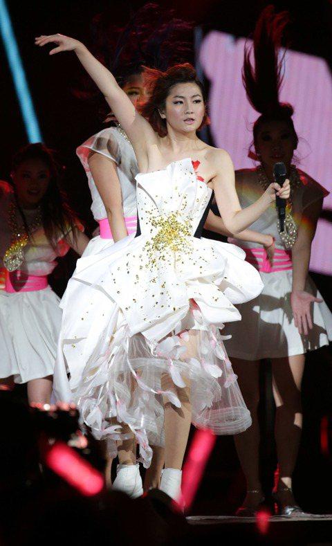 Selina、Ella在跨年夜服裝端出演唱會的高規格。Selina最近才剛發個人專輯,她台上獻唱3套服裝主題分別是白、福、美,跟Ella一樣,服裝花費約50萬,其中「羽毛背心」是向華麗崔姬崔苔菁致敬...