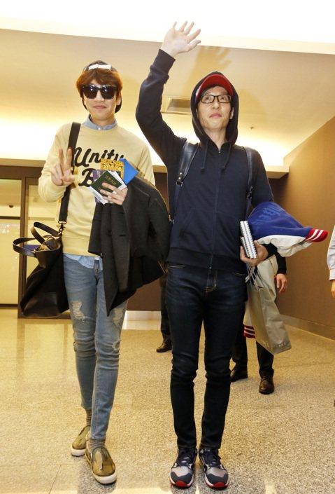 韓國節目「Running Man」最後一批成員李光洙及劉在錫昨晚搭機抵台,大批粉絲從早守候至深夜,見到偶像興奮尖叫。