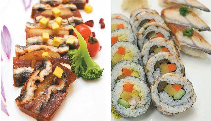 白酒蘋果鰻魚凍(左)、蒲燒鰻花壽司(右)