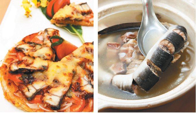 爐烤鰻魚披薩(左)、天麻珍珠燉星鰻(右)