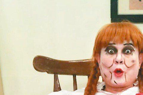 許效舜為衛視「瘋神無雙」節目化身安娜貝爾,製作單位借來最大尺寸的洋裝,沒想到許效舜還是塞不下,只好先用膠帶固定防止脫落,不過完妝後果然激似本尊,笑翻眾人。原來當初電影上映時,就有不少網友發現安娜貝爾...