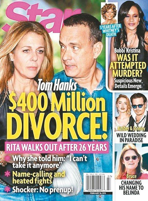 最新一期Star周刊封面故事宣稱,奧斯卡影帝湯姆漢克斯與結縭26年的妻子莉塔威爾森感情生變,總值4億美元(約台幣126億)的分產大戰箭在弦上。麻煩的是,雙方並未簽署婚前協議,表示財產將對半分配。