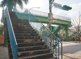 忠順街一段、木新路口的人行天橋,上下班尖峰時段,該路口約有728人穿越,但走天橋...