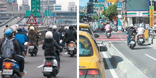 橋梁機車道每天要消化龐大車流(左圖),如 果沒有畫線,車流交織十分危險。(右圖...