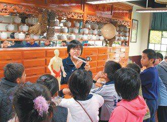 龍山國小將兩間閒置教室打通,設置藥草博物館、中藥店,展示藥用植物標本。 圖/龍山...