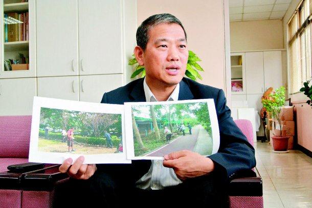台中市觀光局長張大春允諾,未來三條自行車道會加派人員清掃,也會加注公廁指標與距離...